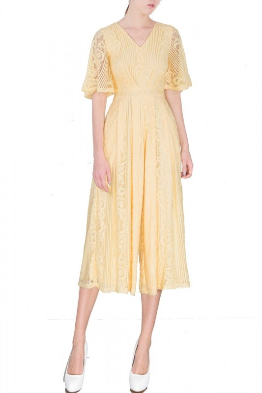 jumpsuit cullotes yellow