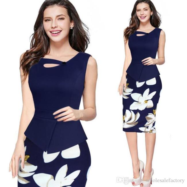 Floral bodycon work dress