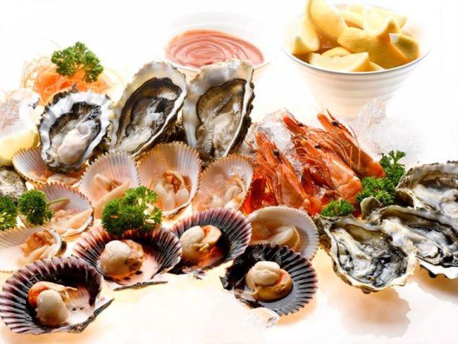 prawn oyster scallops