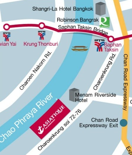 Asiatique the Riverfront Bangkok Thailand map 2017
