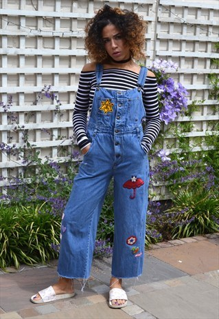 ASOS Denim Frayed Edges Patched Festival Dungarees