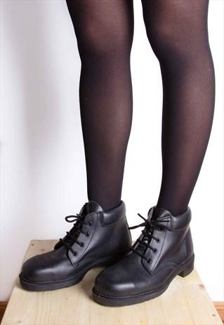 Vintage 90s Grunge Black Leather Combat Safety Boots