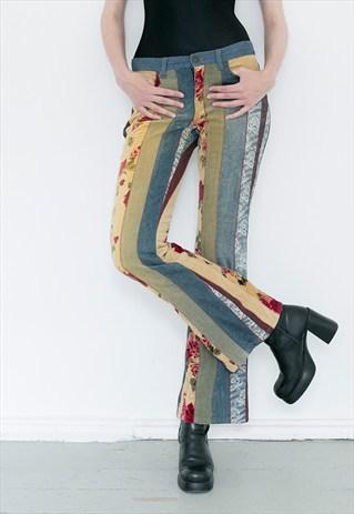 ASOS flared retro cotton and velvet trousers.