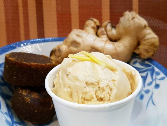 A truly unusual mix of soya base ice cream with gula melaka ginger sauce