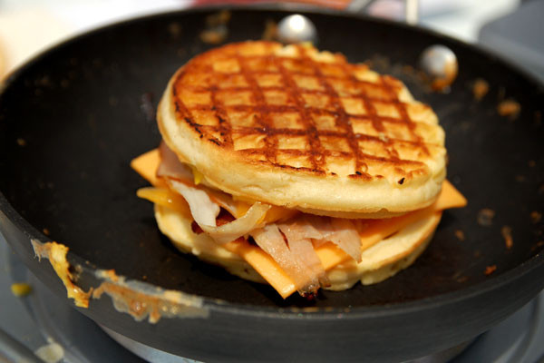 Cheese and bacon waffle sandwich