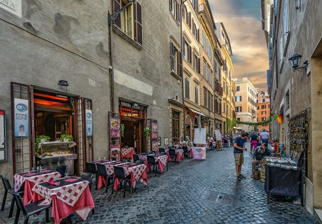 Cafes on cobbled streets