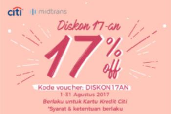 Diskon 17-an -  17% Off Berlaku Untuk Kartu Kredit Citi