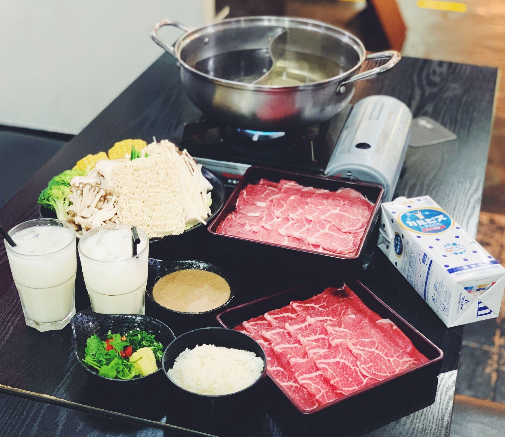 2 x A La Carte Wagyu Beef Sukiyaki & Shabu Shabu Twin Pot + Calpis Drink