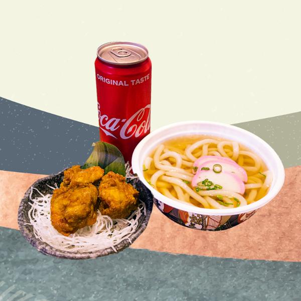1 x Udon + 3 x Chicken Karaage + 1 x Can Coca-Cola