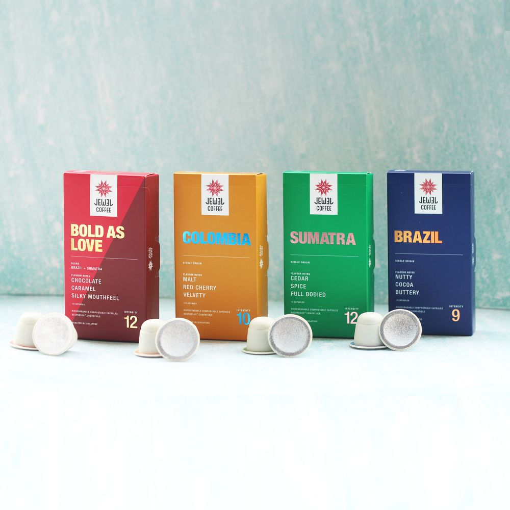 Nespresso Compatible Specialty Coffee Capsule Pack with 4 Flavours (10 Capsules per box)