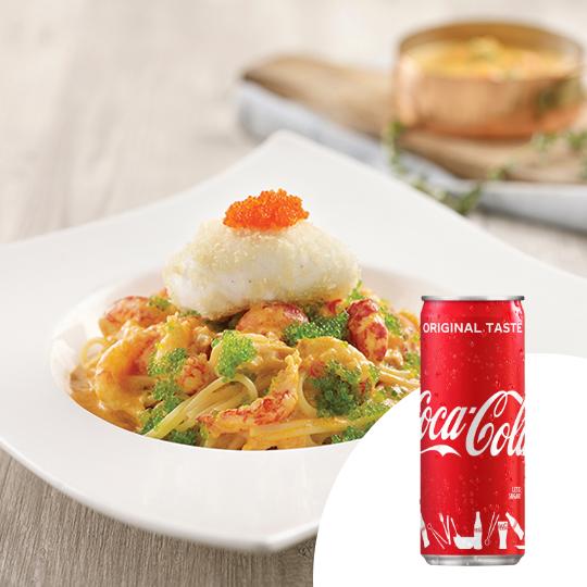 1 x Baby Crayfish Spaghetti + Coca-Cola