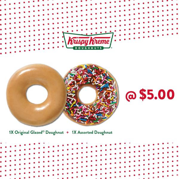 1 x Original Glazed + 1 x Assorted Doughnut at Krispy Kreme - Get Deals, Cashback and Rewards with ShopBack GO