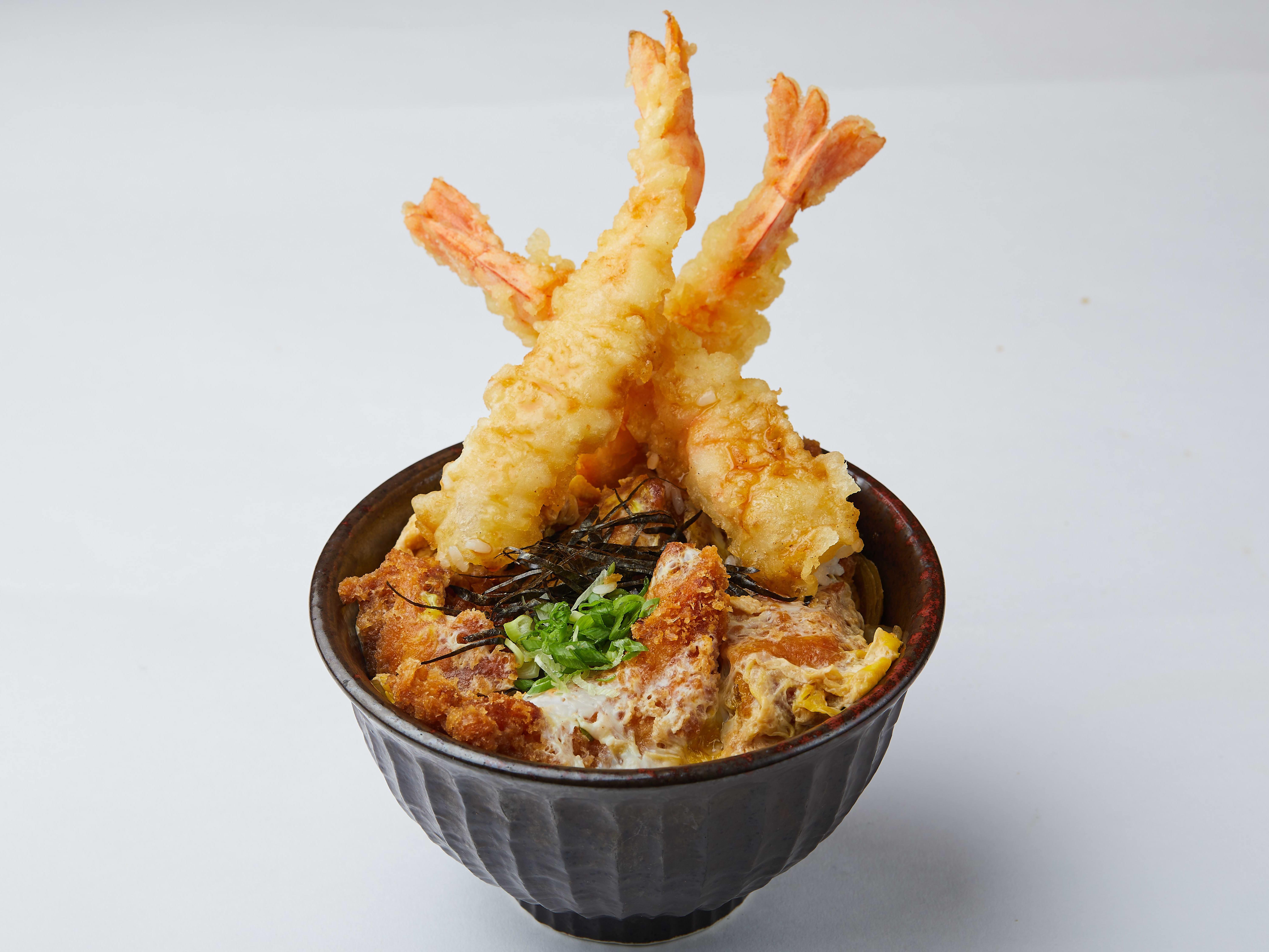 1 x Ebi Tendon or Ebi Ten Katsu Don with Miso Soup & Drink Set