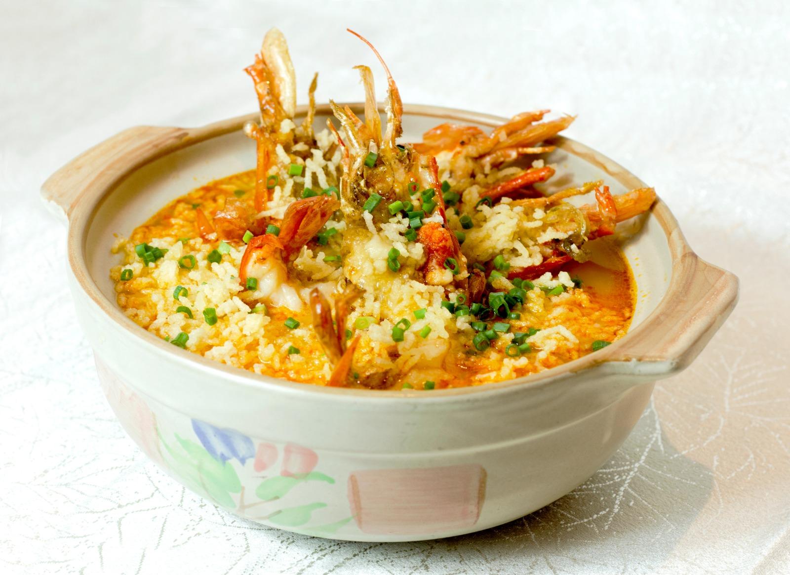 1 x Medium Poached Rice with Big Head Prawn in Supreme Stock