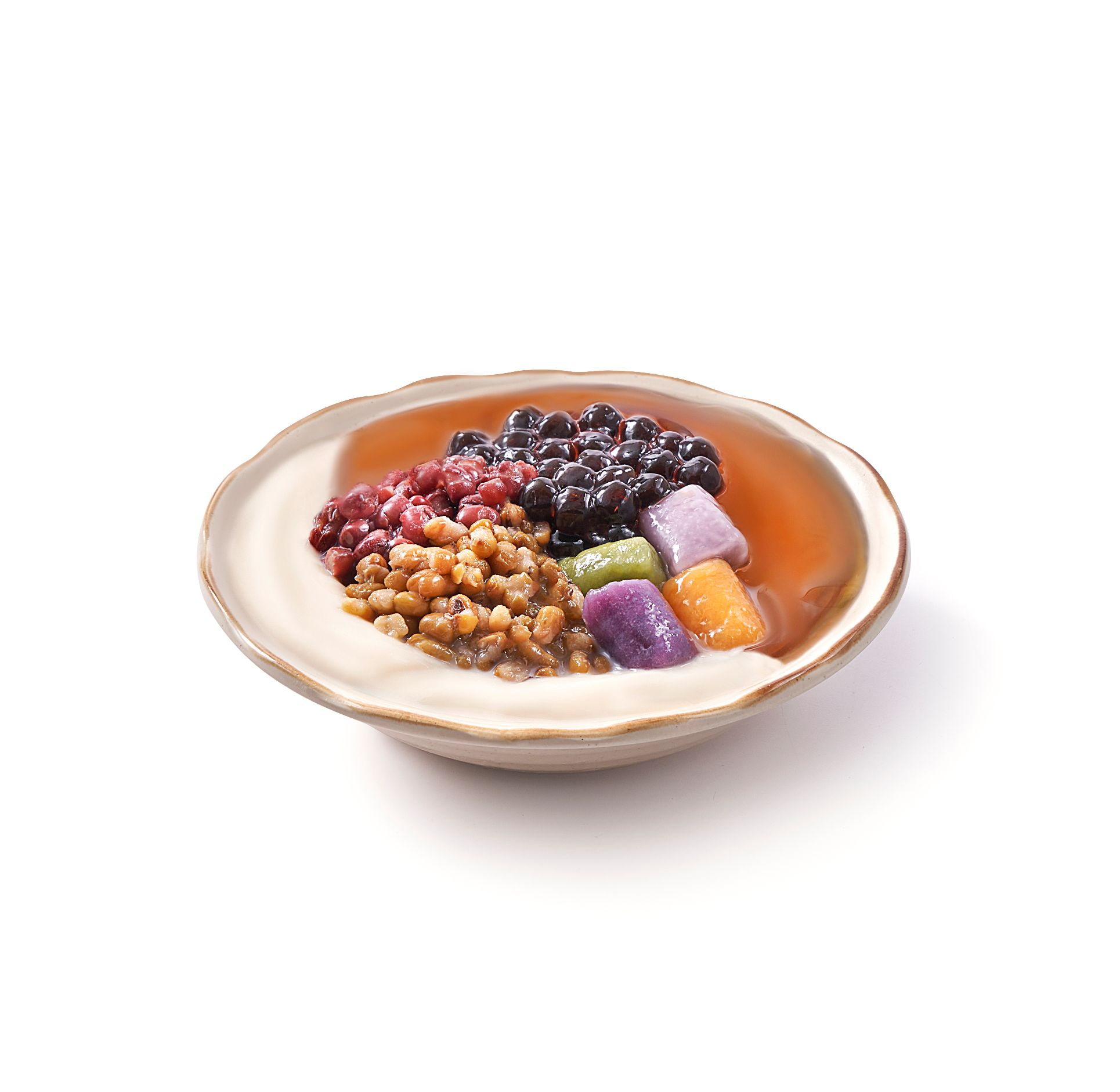1 x Bean Curd + Aiyu Jelly with Red Bean, Green Bean, Black Pearl, and Taro Balls
