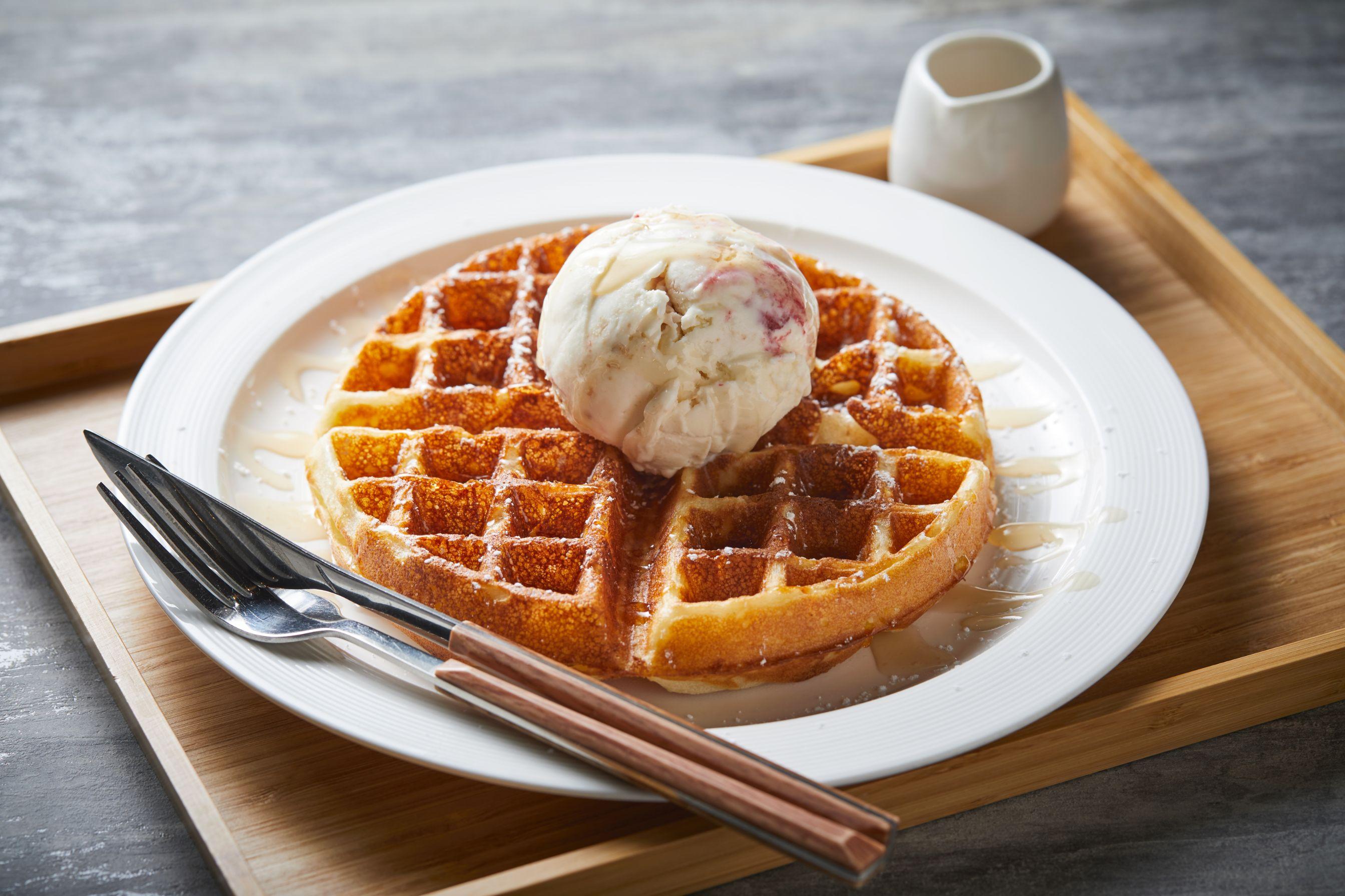 1 x Waffles with Gelato (Single Scoop) + 1 x Iced Latte