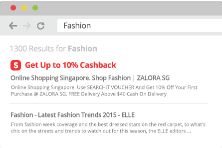 ShopBack Cashback Buddy - Click get cashback link in search results