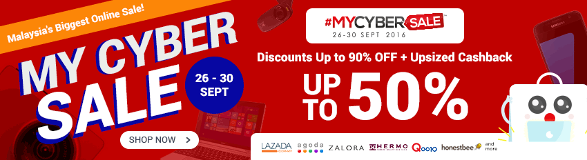 MYCybersale: Up to 90% Discounts + Upsized Cashback Up to 50%