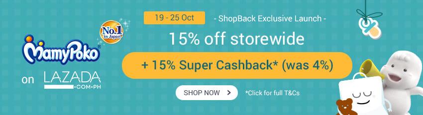 Mamy Poko on Lazada: Get 15% Upsized Cashback (19 - 25 Oct)