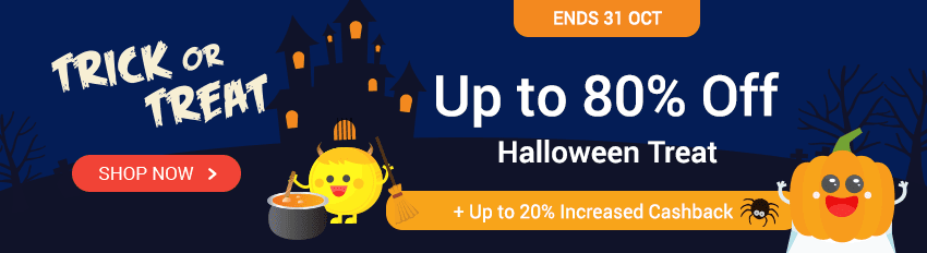 Halloween Sales: Up to 80% Off + Up to 20% Cashback