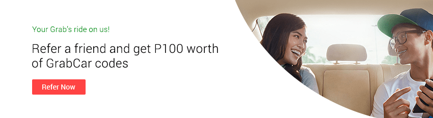Refer a friend and Get P100 worth of GrabCar codes