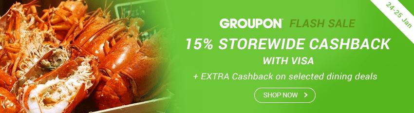 Groupon Flash Sale: 15% Storewide Cashback with Visa