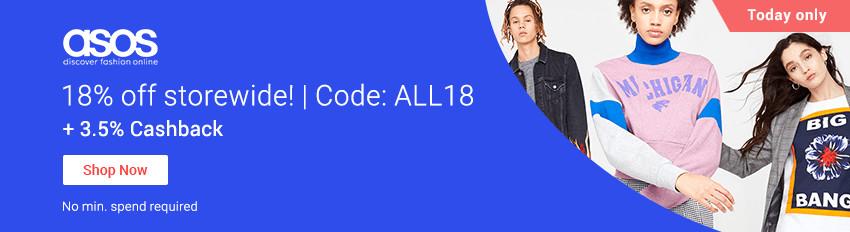 ASOS 18% off code: ALL18 + 3.5% Cashback