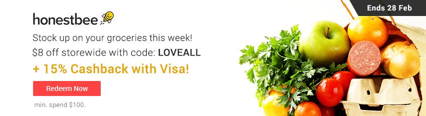 honestbee 15% Cashback with Visa