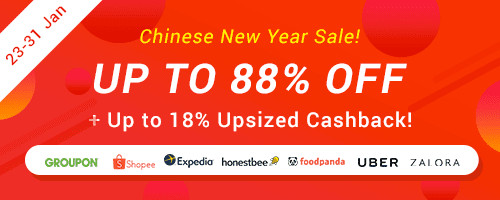 Chinese New Year Sale: Up to 88% off + Up to 18% Upsized Cashback