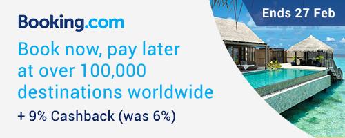 Booking.com: 9% Cashback