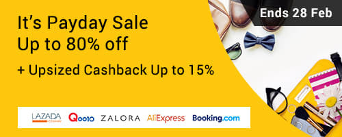 Payday Sale: Up to 80% off + Upsized Cashback Up to 15%