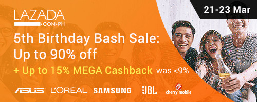 Ends 23 Mar | Lazada 5th Birthday Bash: Sales up to 90% off + Up to 15% Mega Cashback