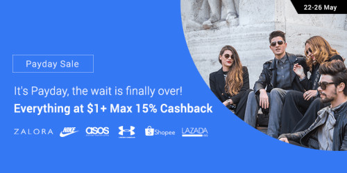 Payday Sale: Everything at $1 + Max 15% Cashback