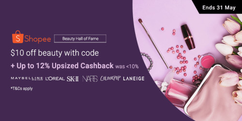 Shopee Beauty Hall of Fame: $10 off beauty with code + <12% Upsized Cashback