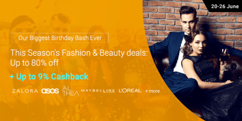 20 - 26 June | This season's Fashion & Beauty deals: Up to 80% off + Up to 9% Cashback