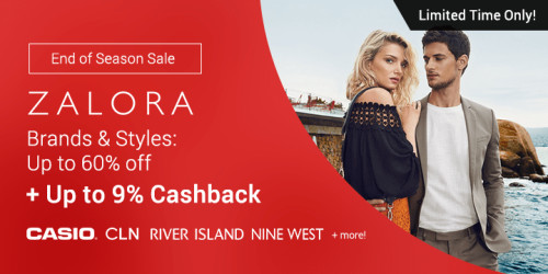 ZALORA's End of Season Sale: Up to 60% off on great finds + Up to 9% Cashback