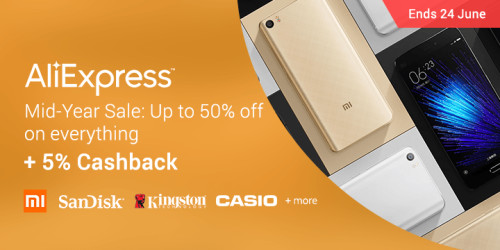 Ends 24 June | AliExpress Mid-Year Sale: Up to 50% off + 5% Cashback