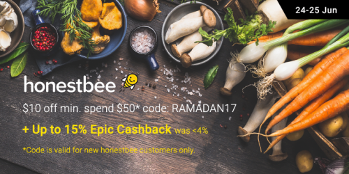 honestbee: Enjoy $10 off $50 on groceries + Up to 15% Epic Cashback