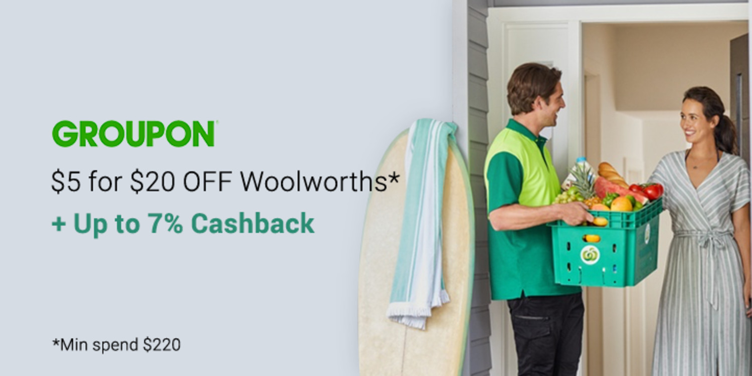$5 for $20 to Spend at Woolworths ($220 Min Spend) via Groupon