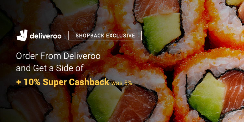 Deliveroo - 10% Upsized Cashback (August 2018)