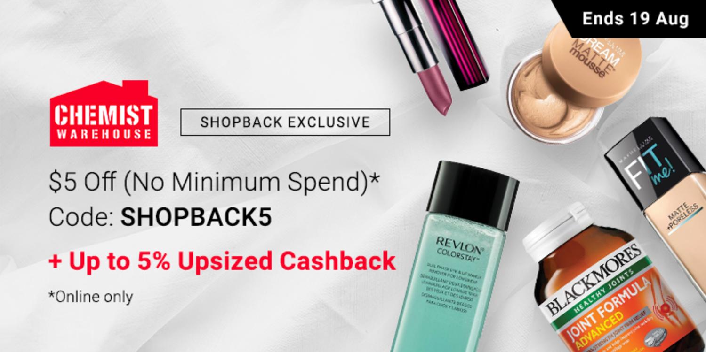 Chemist Warehouse - $5 off (No Min Spend) + Up to 5% Upsized Cashback