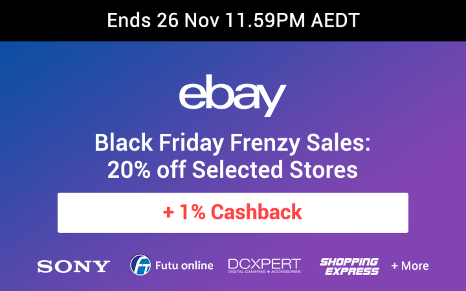 eBay - 20% off Selected Stores for Black Friday Cyber Monday BFCM