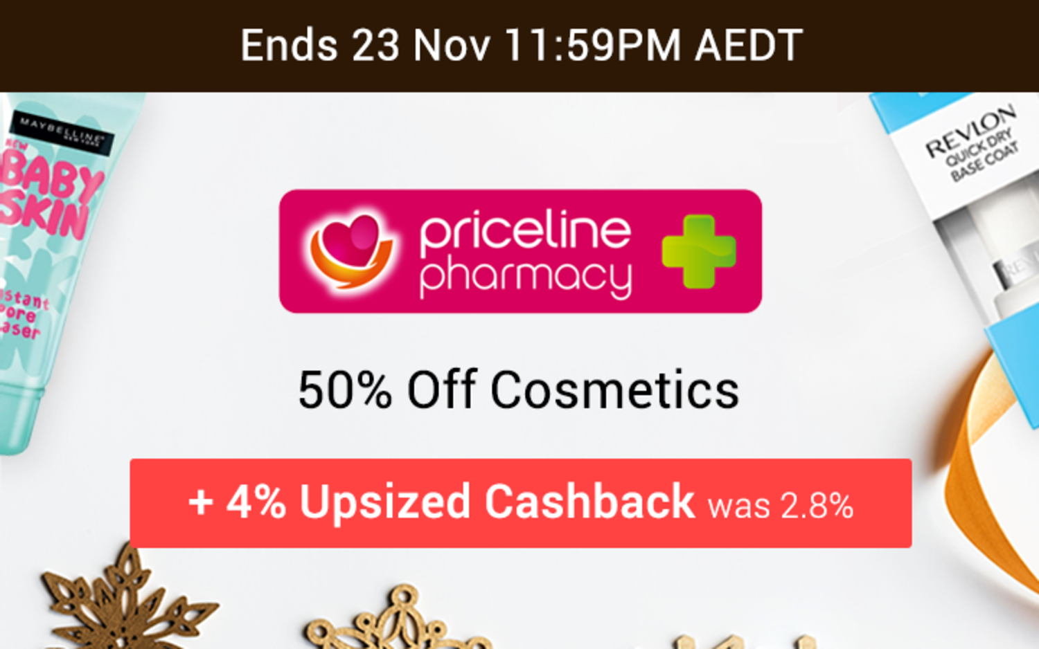 Priceline Pharmacy - 50% off Cosmetics - Black Friday Cyber Monday BFCM