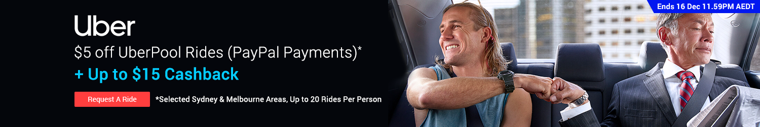 Uber - $5 off Uber Pool with PayPal