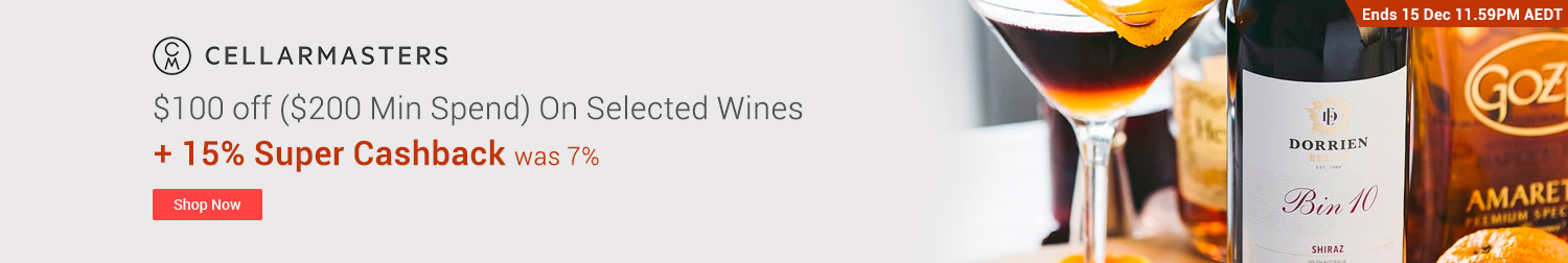 Cellarmasters - $100 off ($200 Min Spend) on Selected Wines
