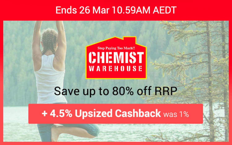 Chemist Warehouse - 4.5% Upsized Cashback