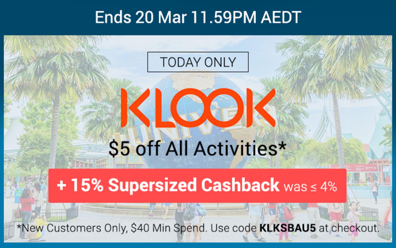 Klook - 15% Upsized Cashback