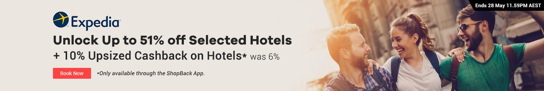 Expedia - 10% Upsized Cashback on Hotels via the ShopBack App