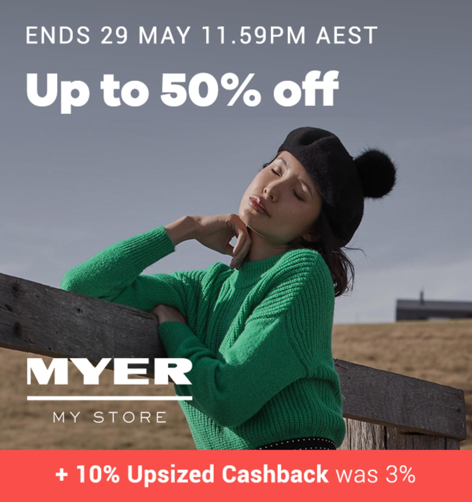 Myer - 10% Upsized Cashback (May 2019)