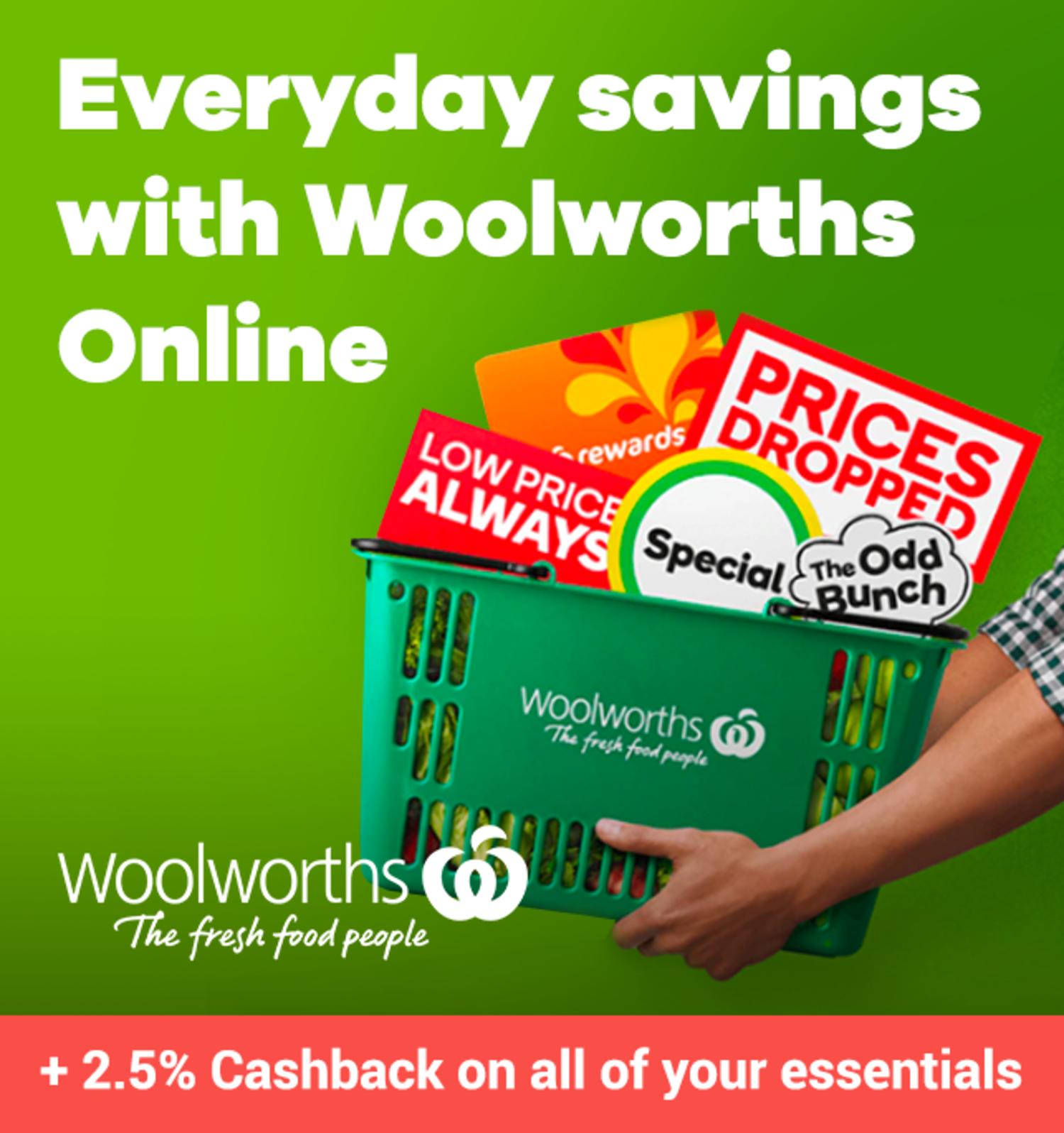 Woolworths - 2.5% Cashback